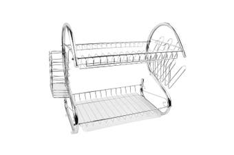 2 Layer Dish Drainer Cutlery Holder Rack Drip Storage Stainless Steel Dish Rack