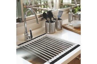 Dish Rack Drying Drainer Over Sink Stainless Steel Rack Roll Up Foldable Kitchen