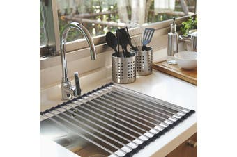 Stainless Steel Dish Drainer over Sink Kitchen Drying Rack Foldable RollUp