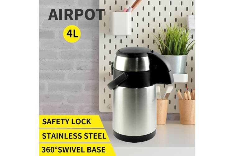Airpot Stainless Steel Air Pots Vacuum Insulated Pot Pump Hot Cold Flask 3L/4L