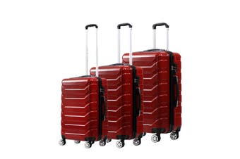 Suitcase Luggage Set 3 Piece Sets Travel Organizer Hard Cover Packing Lock Red