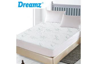 DreamZ Fully Fitted Waterproof Breathable Bamboo Mattress Protector Double Size
