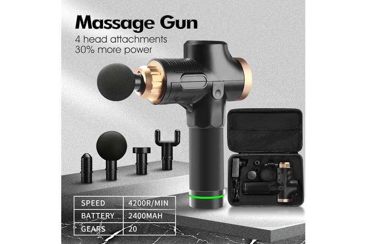 4 Head Electric Massage Gun LCD Percussion Massager Muscle Vibration Therapy BK Black