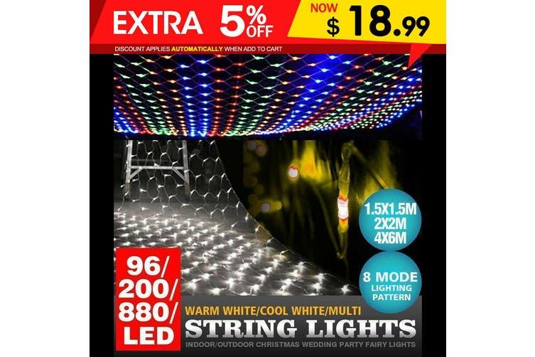 96LED Fairy String Lights Net Mesh Curtain Xmas Wedding Party D?cor Warm White