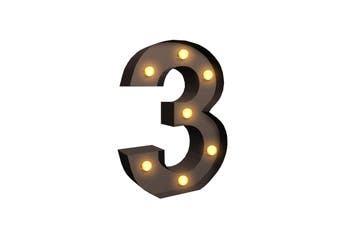 LED Metal Number Lights Free Standing Hanging Marquee Event Party D?cor Number 3