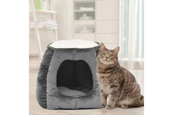 Cat House Bed Pet Dog Large Beds Igloo Bedding Castle Round Nest Cave Grey L