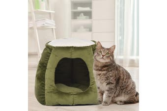 Pet Bed Cat Beds Bedding Castle Igloo Round Nest Comfy Kennel Cave Green L