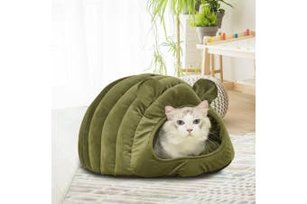 Cat House Bed Pet Dog Beds Bedding Large Igloo Castle Round Nest Cave Green L