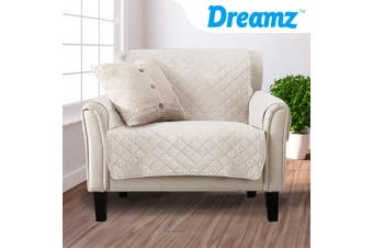 1 Seater Sofa Covers Quilted Couch Lounge Protectors Slipcovers Beige