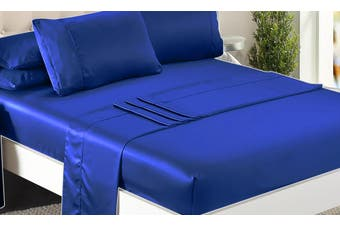 DreamZ Ultra Soft Polyester Bed Sheet Set in Queen Size in Navy Blue Colour