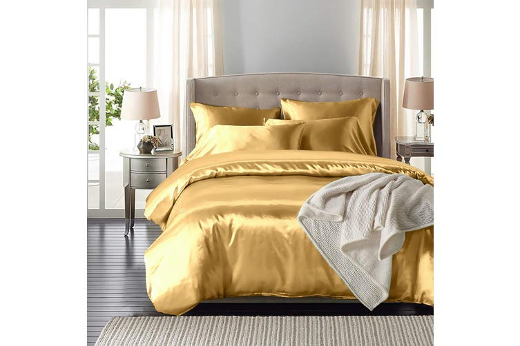 DreamZ Silk Satin Quilt Duvet Cover Set in Double Size in Champagne Colour