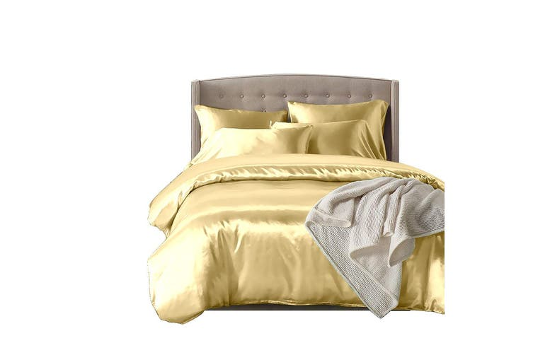 DreamZ Silk Satin Quilt Duvet Cover Set in King Size in Ivory Colour