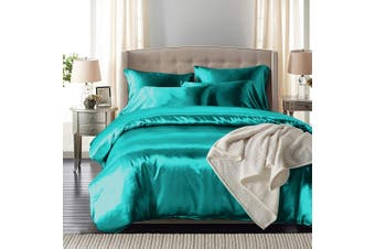 DreamZ Silk Satin Quilt Duvet Cover Set in Queen Size in Teal Colour