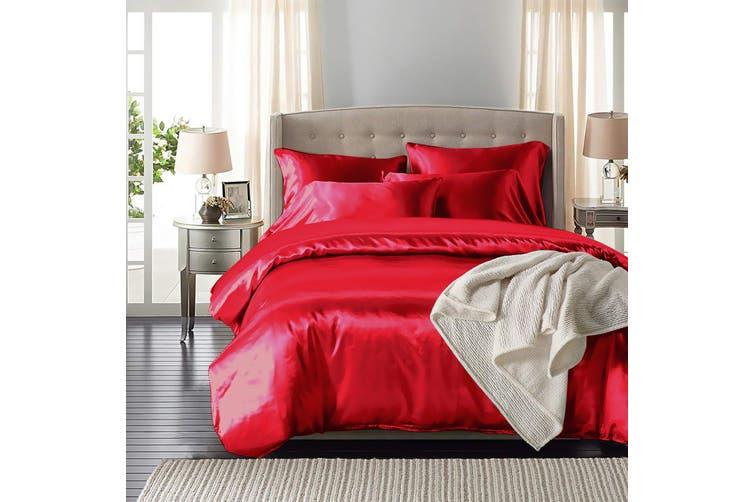 DreamZ Silk Satin Quilt Duvet Cover Set in Single Size in Burgundy Colour