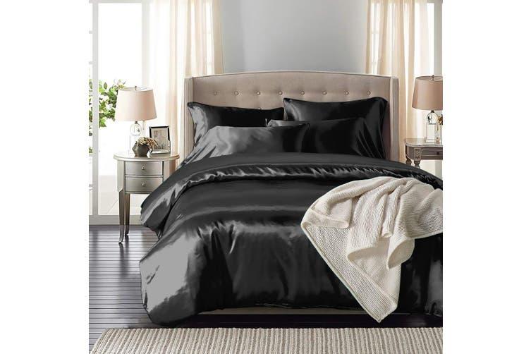 DreamZ Silk Satin Quilt Duvet Cover Set in Single Size in Black Colour