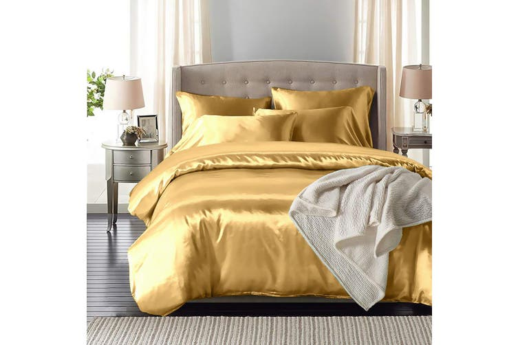 DreamZ Silk Satin Quilt Duvet Cover Set in Single Size in Champagne Colour