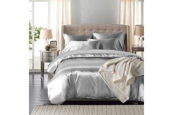 DreamZ Silk Satin Quilt Duvet Cover Set in Single Size in Silver Colour