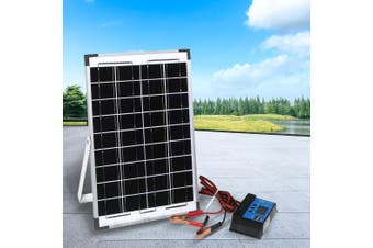 12V 10W Solar Panel Kit MONO Caravan Regulator RV Camping Power Home Charging
