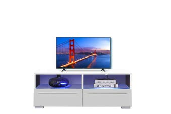 Levede TV Cabinet Stand Entertainment Unit Lowline Storage White LED Furniture