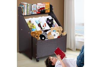 Levede Kids Toy Box Organiser Children Cloth Storage Rack Cabinet Wood Bookcase