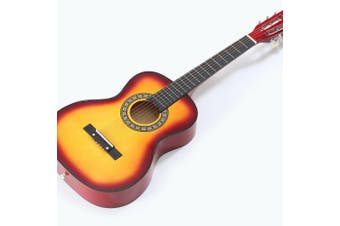 BoPeep 34 Inch Wooden Folk Acoustic Guitar Classical Cutaway Steel String w/ Bag