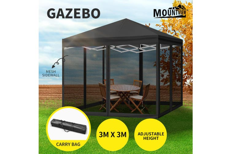Mountview Gazebo Pop Up Marquee Outdoor Canopy 3x3m Wedding Tent Mesh Side Wall