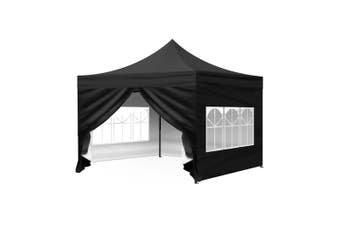 Mountview Gazebo Pop Up Marquee 3x3m Outdoor Canopy Wedding Tent Camping Party Black