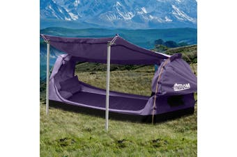 Mountview Double Swag Camping Swags Canvas Dome Tent Free Standing Purple