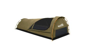 Mountview Camping Swags Canvas Swag Tent Kings Pole with Awning Double Khaki Grey