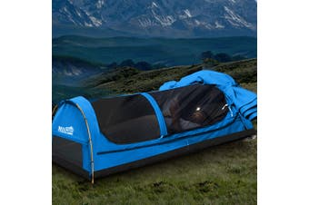 Mountview Double Swag Camping Swags Canvas Dome Tent Hiking Mattress Blue