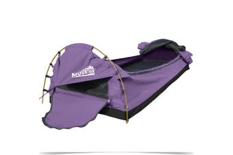 Mountview Camping Swags Canvas Swag Tent Kings Pole with Awning Double Purple
