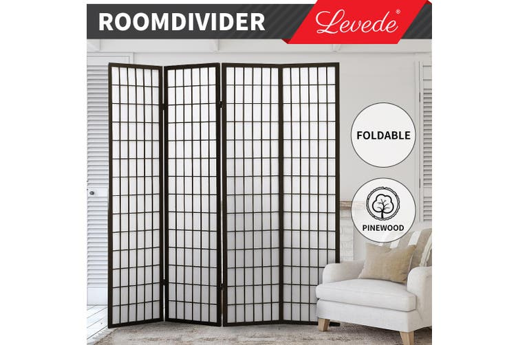 Levede Room Divider Screen 4 Panel Privacy Wooden Dividers Timber Stand Black