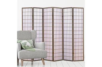 Levede 6 Panel Room Divider Screen Door Stand Privacy Fringe Wood Fold Grey