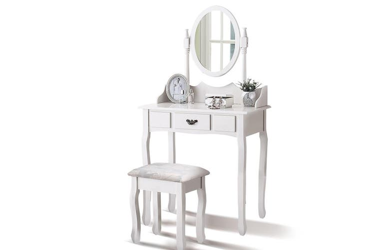 Levede Dressing Table Stool Mirror Makeup Jewellery Organizer Drawer Cabinet