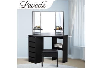 Levede Dressing Table Stool Mirror Jewellery Organiser Makeup Cabinet 5 Drawers