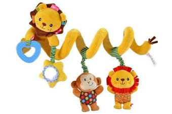 Baby Crib Plush Toys Multi-function Baby Activity Spiral Toy Stroller Toys with Musical Star Rattle Monkey Beep Lion