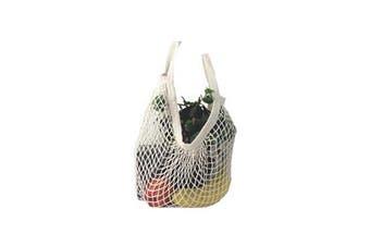 Cotton Mesh Net Shopping Bag Reusable Tote Produce Bag Fruit Grocery Storage Handbag(Beige)