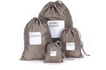 Drawstring Bags Outdoor Travel Bags Waterproof Organizer Portable Packaging Bags for Clothes(4Pcs,Coffee)