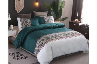 Double Size 3Pcs Quilt Cover Pillowcases Bedding Set Blue