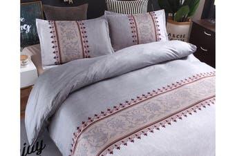 King Size 3Pcs Quilt Cover Pillowcases Bedding Set Light Grey