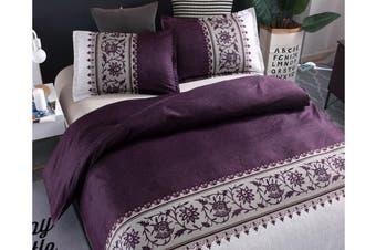 Double Size 3Pcs Quilt Cover Pillowcases Bedding Set Purple
