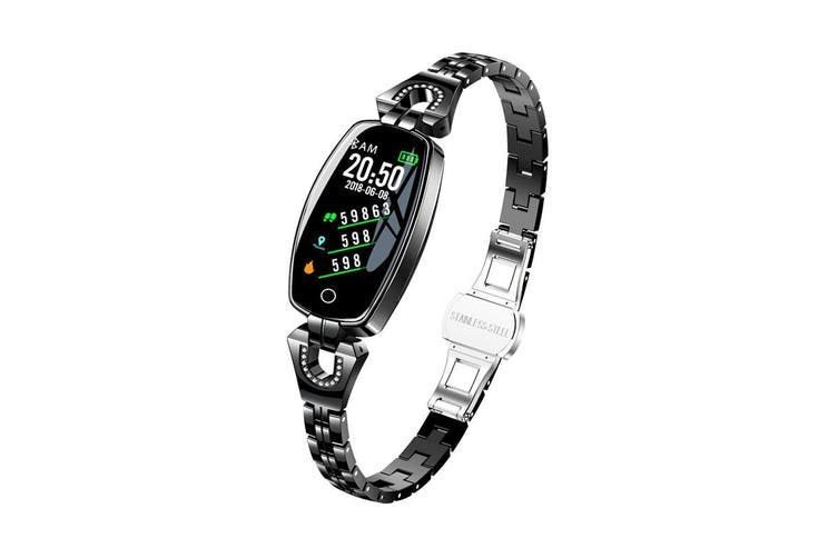 Womens Smart Watch Bracelet Fitness Tracker for iPhone Android Touch Screen Heart Rate Monitor Pedometer(Black)