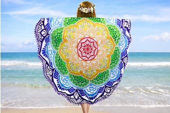 Sand Free Beach Towel Wrap Blanket Quick Dry Microfiber Round Beach Bath Towel(1Pack)