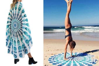 Round Beach Towel Wrap Blanket Sand Free Quick Dry Microfiber Beach Bath Towel(2Packs)