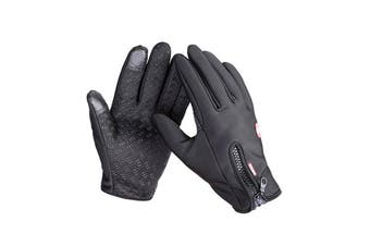 L Unisex Touch Screen Gloves Windproof Waterproof Gloves Black