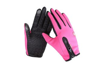 L Unisex Touch Screen Gloves Windproof Waterproof Gloves Rose Red