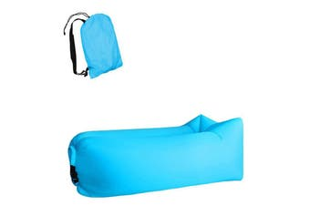 Inflatable Lazy Air Lounger Chair with Storage Bag Portable Inflatable Sofa Bed Beach Lazy Sleeping Bag(Blue Oxford Material)