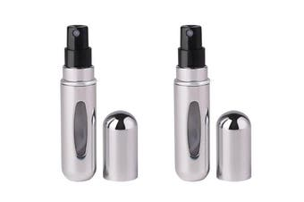 Refillable Perfume Atomizer Bottle Spray Container 5ML(Silver,2Pack)