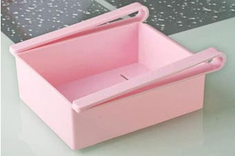 Fridge Organiser Refrigerator Sliding Drawer Shelf Pink