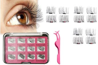 3D Magnetic Eyelashes with Tweezer Reusable Magnetic Eyelashes Makeup False Eyelashes(2Sets)